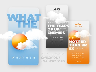 What the    weather?! 3d figma ui app design weather forecast funny quotes humor dark humor graphic design weather app weather