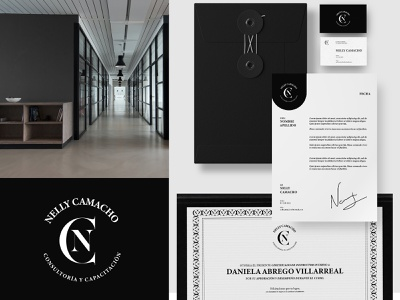 Nelly Camacho Consulting training consulting stationery mockups stationery branding logo