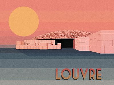 Louvre poster retro design abu dhabi retro louvre