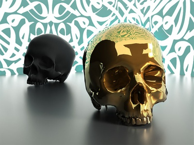 equality digital art garphic gold render calligraphy skull