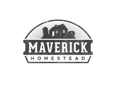 Maverick Homestead logo stamp farmer distressed typography grunge maverick homestead