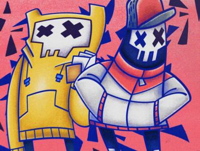 Skull Bud character color design illustration