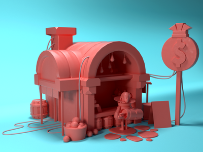 Ye ole general shoppe render fun store shop character lowpoly c4d concept design game modeling 3d cg