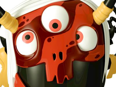 Spinja Render red goofy cg video dark app game character octane c4d 3d