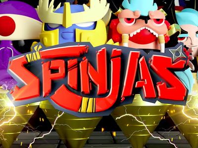 Spinjas Logo  ninja dev game app toy spinjas cg 3d c4d type design logo