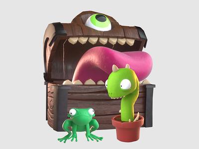 Game Oddities mimic game cg dragon frog tavern 3d vr treasure