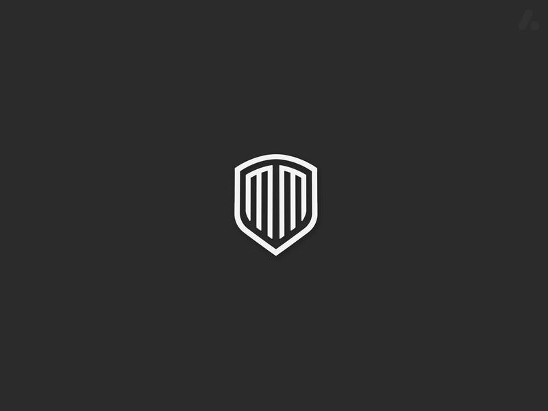 letter MM + shield logo design sports logo m letter m logo m letter logo letter logo shield logo mm logo