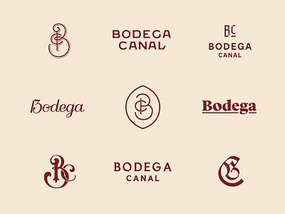Bodega Canal Logo Exploration restaurant monogram custom lettering script logomark logo branding