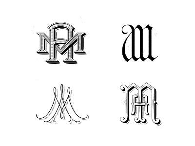 MA monograms victorian script serif blackletter interlocking vector typography lettering type monogram