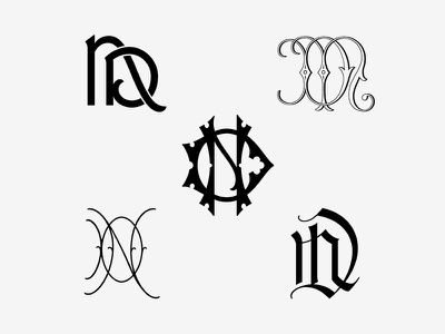 ND Monogram Exploration victorian script serif blackletter interlocking vector typography lettering type monogram