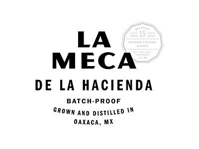 La Meca Outtake sans serif mexico agave mezcal emblem mark seal lockup logotype logo branding type typography