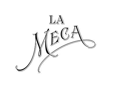 La Meca Outtake filigree serif mexico agave mezcal logotype design custom logo branding handlettering type lettering typography