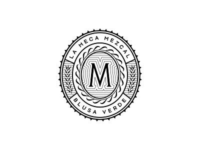 La Meca Outtake lockup mezcal mexico agave mark ornament filigree design monogram branding type typography logo badge