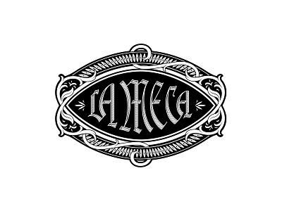 La Meca Outtake blackletter ojo eye detailed filigree ornament mexico mezcal logotype agave design logo branding handlettering type lettering typography