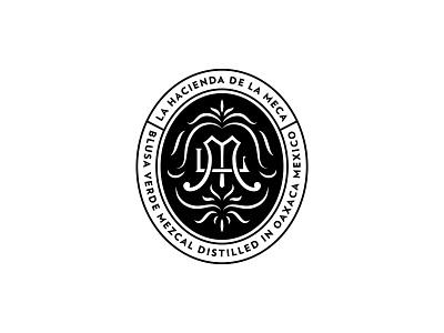 La Meca Outtake seal badge lockup mezcal mexico logotype filigree agave design monogram logo branding handlettering type lettering typography