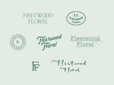 Fleetwood Floral Throwaways ligature flowers floral mark badge lockup serif logotype design script monogram logo branding handlettering type lettering typography