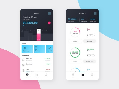 FinTech Dashboard ux design app mobile brand identity digital design ui design