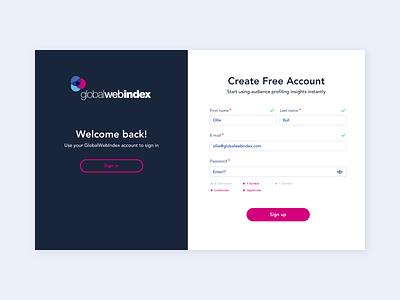 GlobalWebIndex - Registration webdesign iconography registration sign in ux design digital design ui design