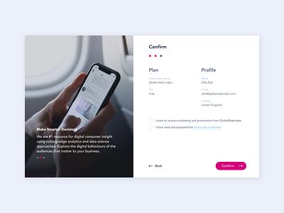 GlobalWebIndex - Confirm forms webdesign app brand identity digital design ui design