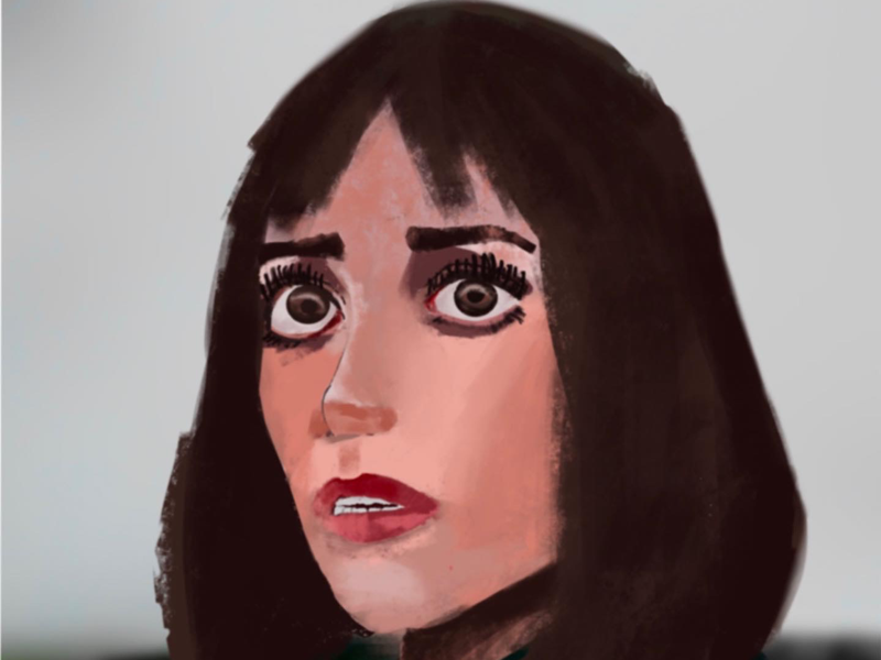 Scared woman on Procreate painting digital