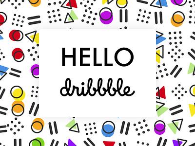 Hello dribbble! hello dribbble pattern memphis retro 80s debut