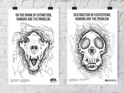 Mass Extinction of Animals design animals line drawing poster