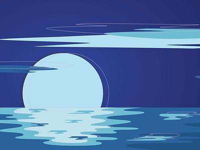 Landscape No. 3 - Ocean Night illustrator vector night ocean