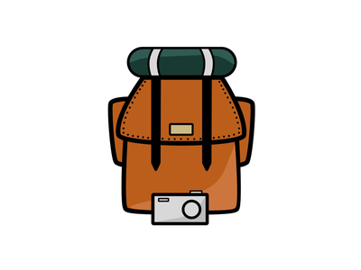 Summer camping and backpacking design illustrator camping backpack outdoor