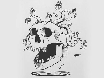 Skulls and dead flowers micron drawing pen flowers skull