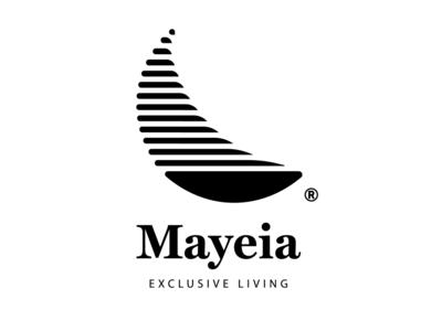 Mayeia • Exclusive Living crete rethymno logo hosting residence villa hotel horizon moon