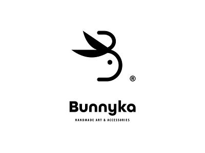 Bunnyka logo greece rethymno crete rabbit initial letter ears scissors bunny handmade
