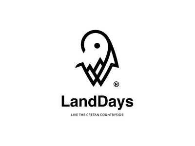 LandDays sun tops hills mountain landscape scenery map pin horns goat cretan branding logo greece rethymno crete countryside rental platform travel