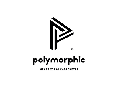 Polymorphic, Design & Construction initial letter logo initial impossible triangle logo greece rethymno crete construction company architecture design