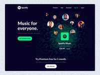 Spotify Dark Landing Page Design