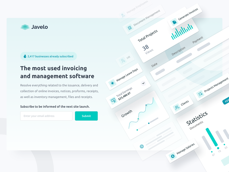 Invoice Software Newsletter Page Design clean webdesign saas landing page page coming soon subscribe page subscribe landing page newsletter dashboard app analytics billing invoice software design crm saas software invoice