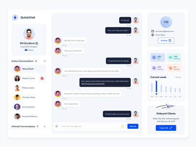 QuickChat Dashboard Design minimal ux ui chat bubble dashboard ui design dashboard design dashboard ui chat box chat app chat bot conversations app design design app saas app chat ui chat dashboard chat dashboard chat design
