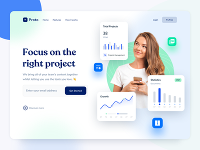 Proto  - SaaS B2B landing page design clean b2b website b2b design minimal analytics dashboard webdesign interface saas saas design landing page design website design website homepage design ui ux design landing page webflow wordpress