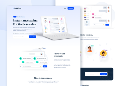 Webflow QuickChat SaaS Website Design saas website branding logo messages webflow design live chat intercom ui ux chat chat website design minimalist website minimal website light website saas website saas landing page wordpress webflow