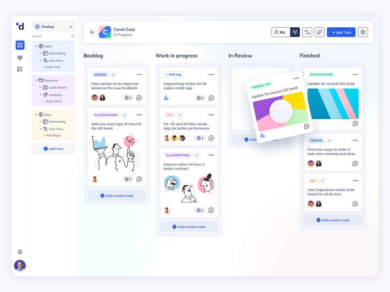 Dashup Kanban View SaaS Design management app jira asana web web admin app task app kanban web app web app design board ux ui project management webdesign saas dashboard dashboard design design trello kanban view