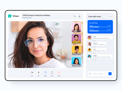Video Call Interface Design clean saas learning education webinar ux stream online course recording livestream live skype zoom ui video call conference communication chat call app