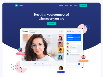 Video Conference Website Landing Page Design meeting meeting app video tool design webdesign wordpress webflow live call skype zoom video call ui online livestream live communication communications conference call app