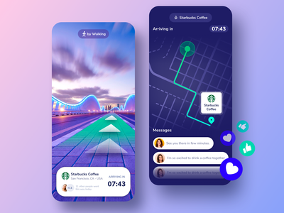 AR Navigation Map App Design ar mobile app vr ux ui tracker transit transport mobile clean location car uber augmented reality ar app mobile app navigation design app map gps