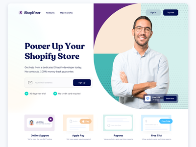 Shopifzer SaaS Homepage Design - Webflow website clean ui ux homepage saas homepage design shopify support trial reports payments saas payments payments website saas wordpress design saas design saas product product design webflow