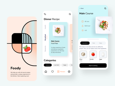 Cooking Recipe App Design chef food app cook ui ux restaurant mobile minimal foodie food cuisine cooking recipe app recipes app design app recipe recipes cooking recipe app cooking app