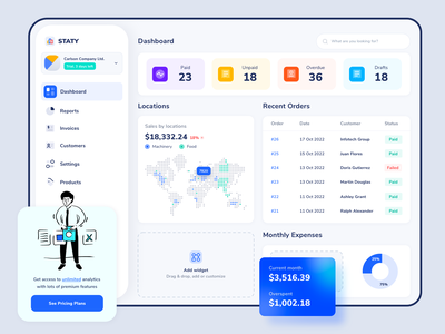Company Dashboard Invoice Builder Management Tool ui dashboard saas builder web website web app revenue invoice fintech services financial finance expenses customer service budget b2b design app accounting