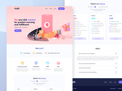 Product Shipping and Fulfillment Website Design - Webflow cargo parcel b2c delivery package shipment logistic sourcing fullfillment shipping web webflow saas website landing page minimal app ux ui design
