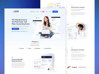 Accounting Invoice Software SaaS Landing Page Design proposal design invoices payroll accounting software bookkeper banking service customer product design invoicing financial saas webflow website fintech finance app invoice accounting