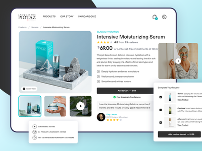 Skincare Ecommerce Shopify Product Page Design minimal clean website shopping app shopify store shopping ui ux design product page app webflow woocommerce shop store skincare ecommerce app online store shopify ecommerce
