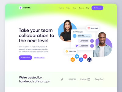 Team Collaborations SaaS Design in Webflow hero design webdesign website design app web design video call invoices payments website startup landing page software tool saas productivity collaboration communication chat team management webflow