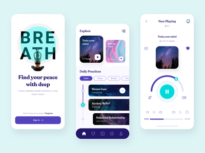 Breath - Meditation app design mobile app practice clean minimal ux yoga mindfulnes breath meditations relax calm health meditation app mobile ui app design meditation meditate sleep